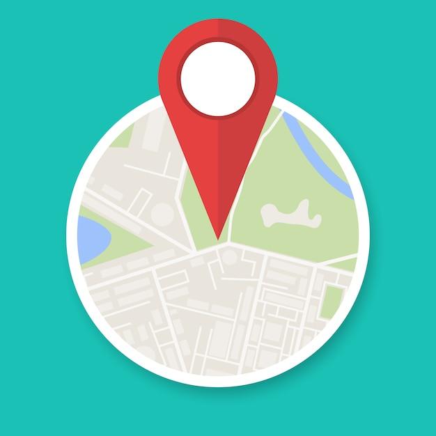 Ícono de mapa de navegación Vector Premium