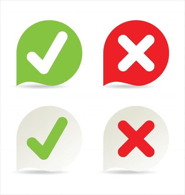 Icono de marca de verificación Vector Premium