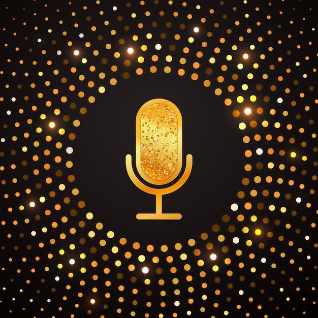 Icono de micrófono dorado en círculo de semitono oro abstracto. fiesta de karaoke brillante banner de lujo. Vector Premium