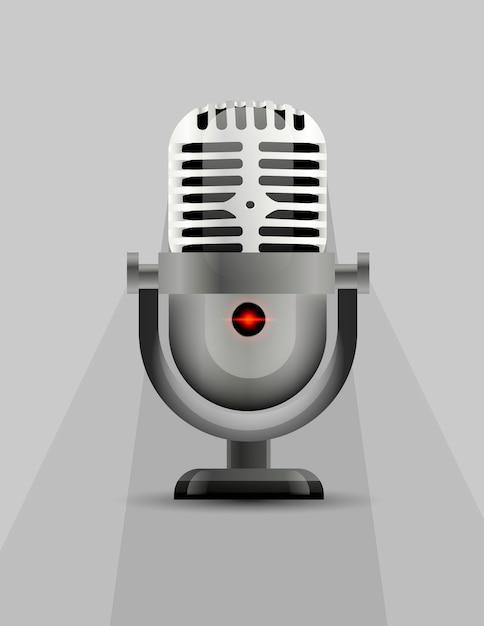 Icono de micrófono con un indicador luminoso. Vector Premium