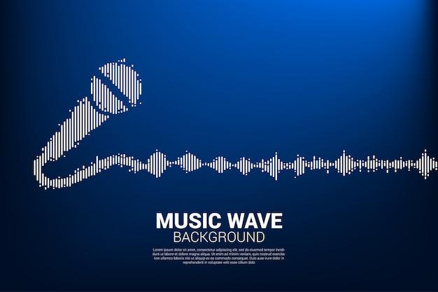 Icono de micrófono de onda de sonido fondo de ecualizador. Vector Premium