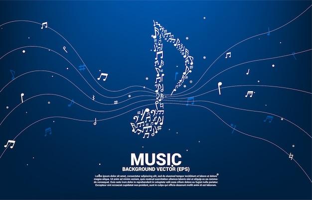 Icono de la música del vector en forma de nota clave de baile. Vector Premium