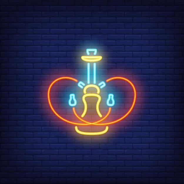 Icono de neón de la cachimba con dos mangueras en forma de corazón vector gratuito