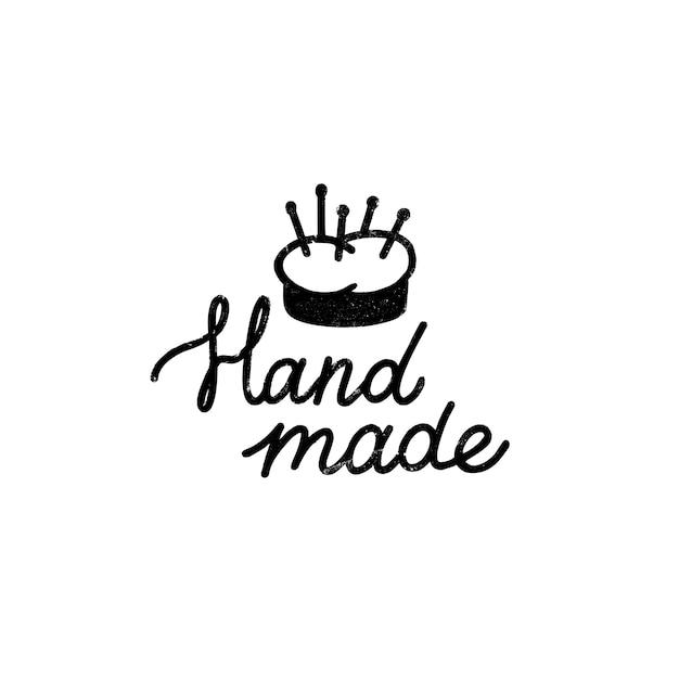 Icono o logotipo hecho a mano. icono de sello vintage con letras hechas a mano y alfiletero. ilustración vintage para banner y etiqueta Vector Premium