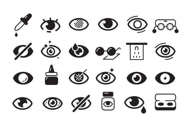 Icono de optometría. colección de línea óptica de lentes de oftalmología de símbolos oftalmológicos Vector Premium