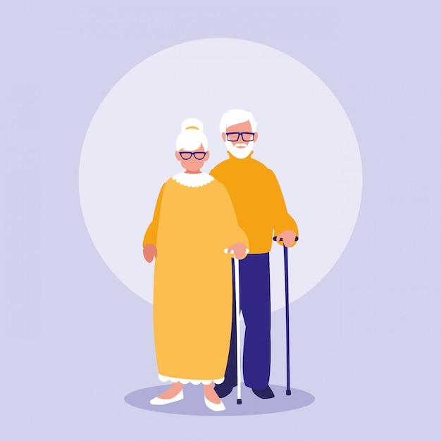 Icono de personajes de pareja de abuelos Vector Premium