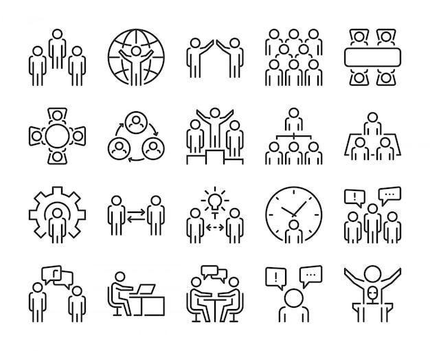 Icono de personas de negocios. conjunto de iconos de línea de personas de negocios. trazo editable, pixel perfecto. Vector Premium