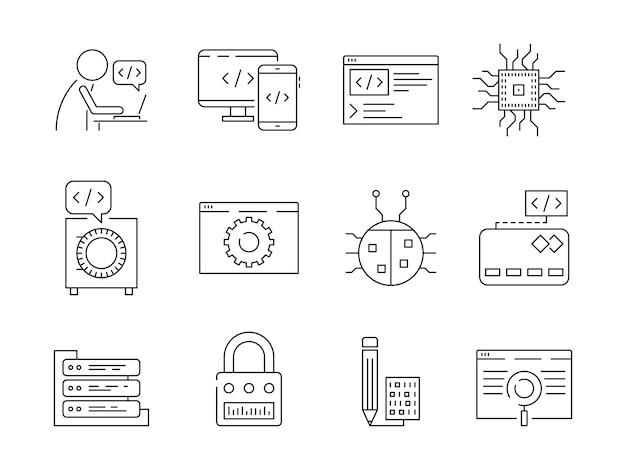 Icono de programador. el codificador de errores del trabajador de desarrollo web corrige los nodos qa sistema de prueba de ingeniería vector de línea delgada símbolos Vector Premium