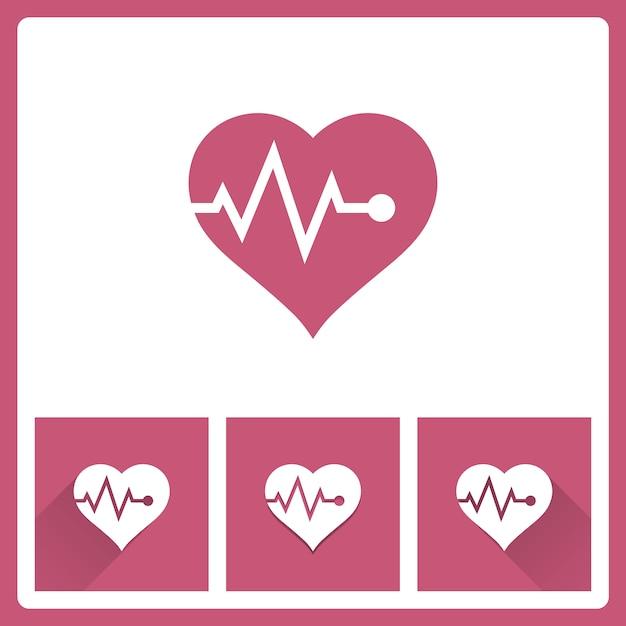 Icono de pulso cardíaco Vector Premium