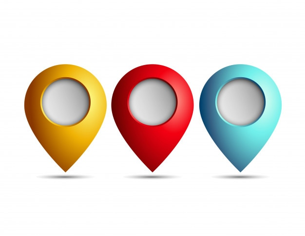 Mapa Plano Con Pin Icono De Puntero De La: Icono De Puntero De Tres Mapas