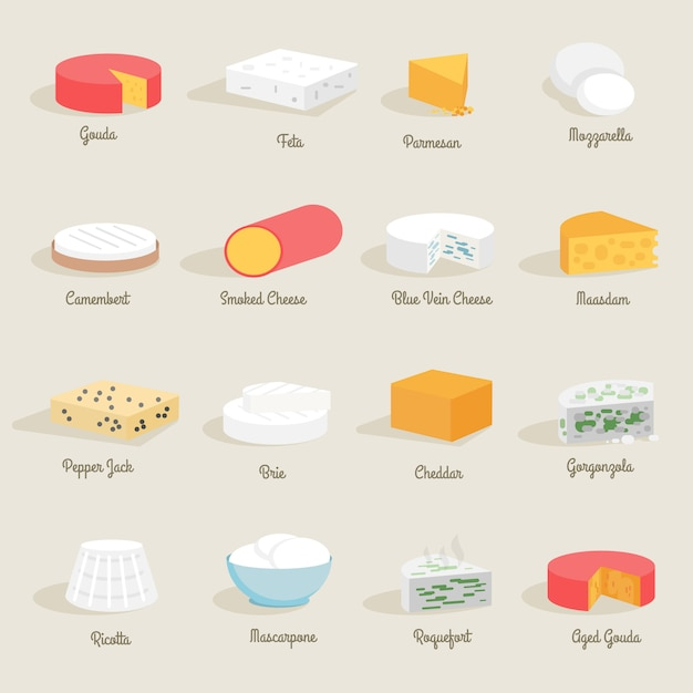 Icono de queso plano vector gratuito