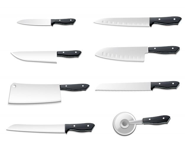 El icono realista aislado de los cuchillos fijó con las cuchillas afiladas para el ejemplo del vector de los pescados del pan de la carne de la pizza vector gratuito
