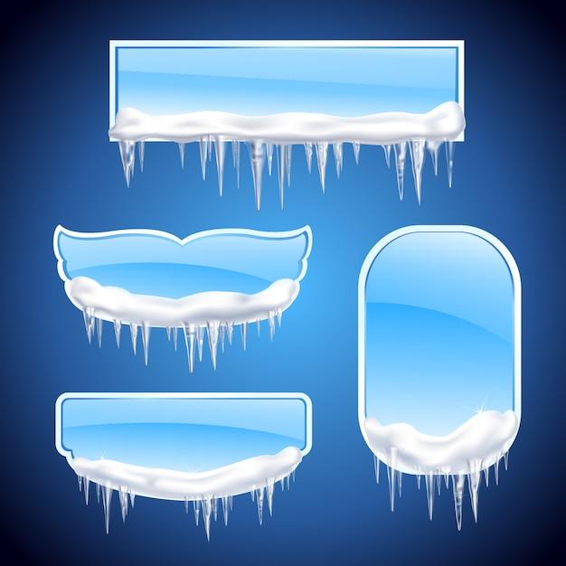 El icono realista de los marcos de los carámbanos aislados fijó con las ventanas o los marcos de forma diferente en la ilustración de fondo azul vector gratuito