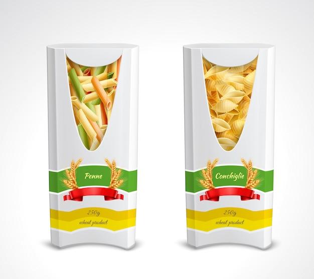 Icono realista de paquete de pasta establece dos colores paquete con penne y conchiglie ilustración vector gratuito