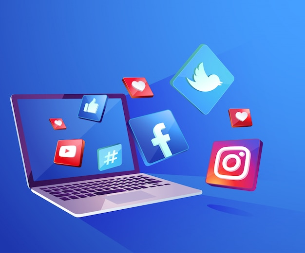 Icono de redes sociales 3d con escritorio portátil Vector Premium