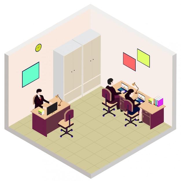 Icono de sala de oficina de empleado isométrica Vector Premium