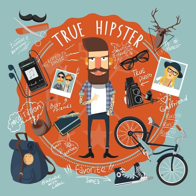 Icono de sello de concepto de hipster vector gratuito