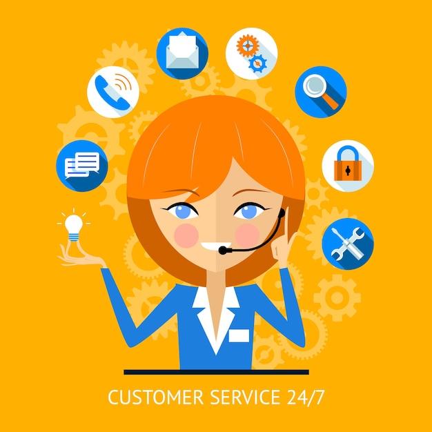 Icono de servicio al cliente de una chica de centro de llamadas muy sonriente con un auricular rodeado de varios iconos web en línea para la seguridad de búsqueda de pago wifi y las redes sociales vector gratuito