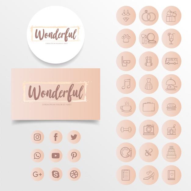 Icono simple moderno de instagramo destaca icono de historia Vector Premium