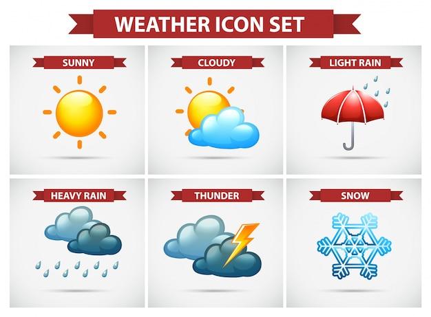 Icono del tiempo con muchas condiciones climáticas vector gratuito