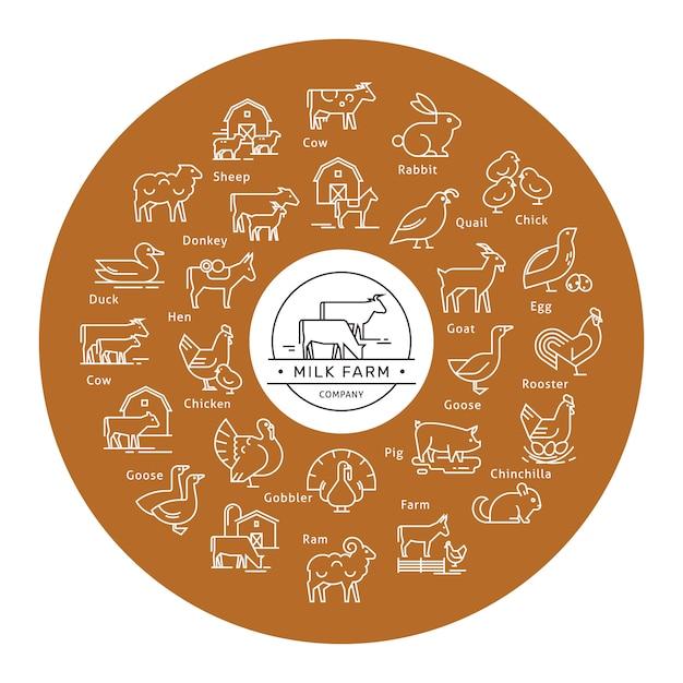 Icono de vector circular en un estilo de línea de siluetas de animales de granja. Vector Premium