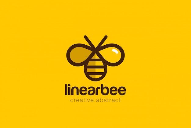 Icono de vector lineal de logotipo de abeja. vector gratuito
