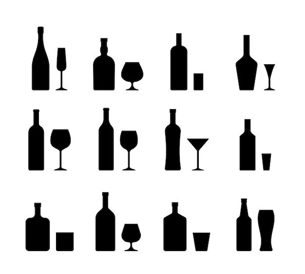 Iconos de alcohol botellas bebidas y vasos. Vector Premium