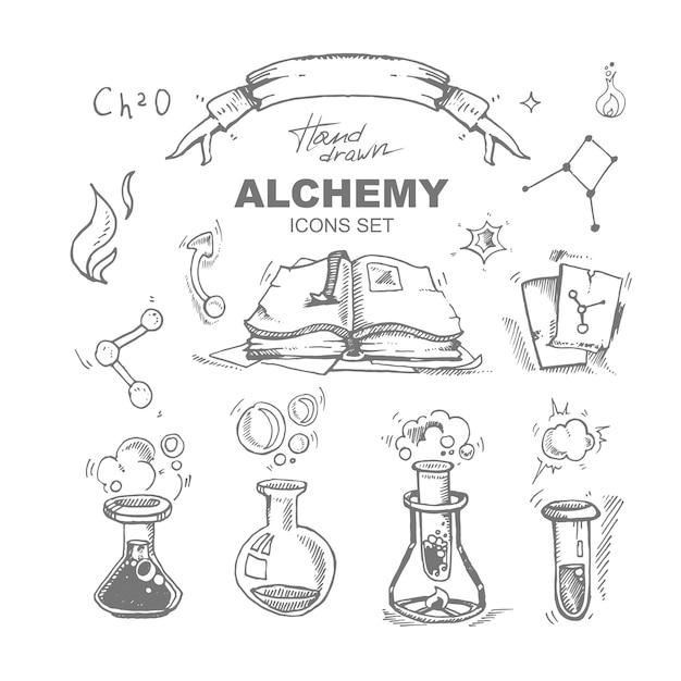 Iconos de alquimia dibujados a mano con tubo de ensayo Vector Premium
