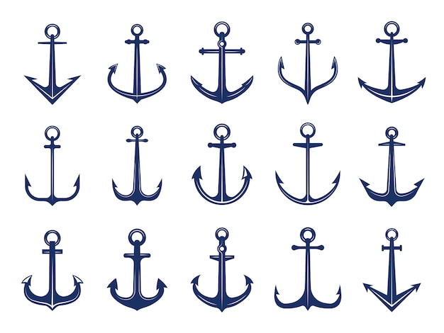 Iconos de ancla marina. de símbolos navales anclas barco o bote. plantilla de logotipos retro marinos Vector Premium