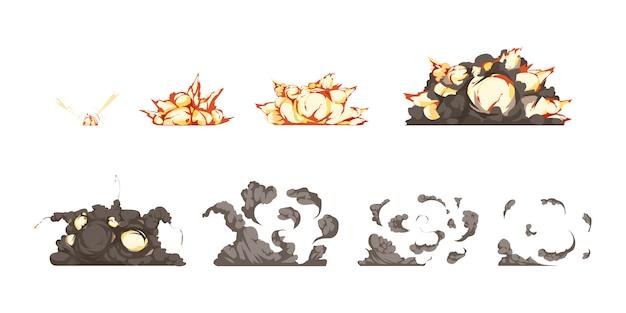 Los iconos de animación del proceso de explosión de una bomba establecen desde la detonación hasta el calor y las ondas de choque. vector gratuito