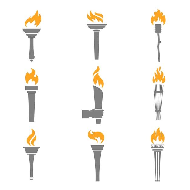 Iconos de la antorcha de fuego vector gratuito