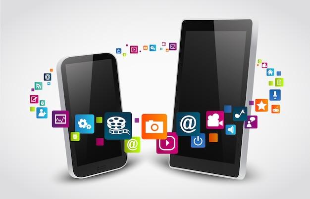 Iconos de aplicaciones coloridas Vector Premium