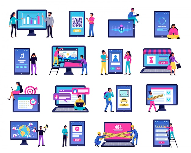 Iconos de aplicaciones móviles con símbolos de computadora portátil y teléfono inteligente ilustración aislada plana vector gratuito