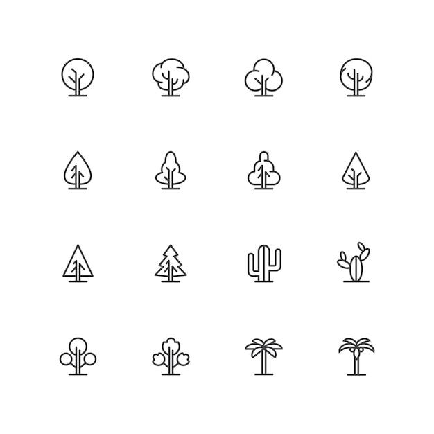 Iconos de árboles lineart simples, símbolos de líneas de paisaje, signos de plantas aisladas Vector Premium