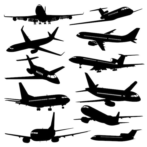 Iconos de aviación de vuelo, siluetas de avión negro Vector Premium