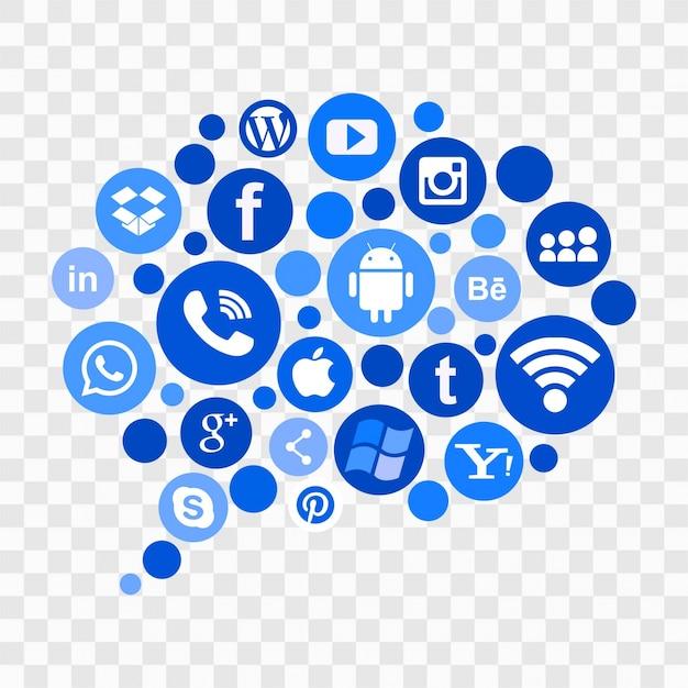 Iconos azules de redes sociales Vector Gratis