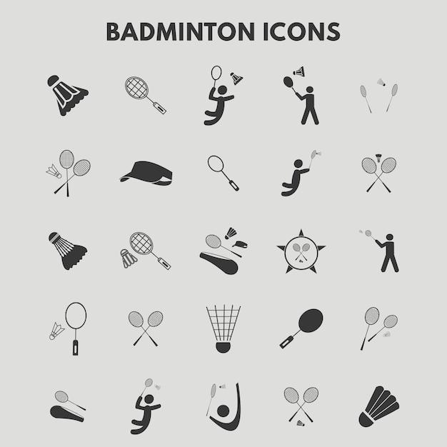 Iconos de bádminton vector gratuito