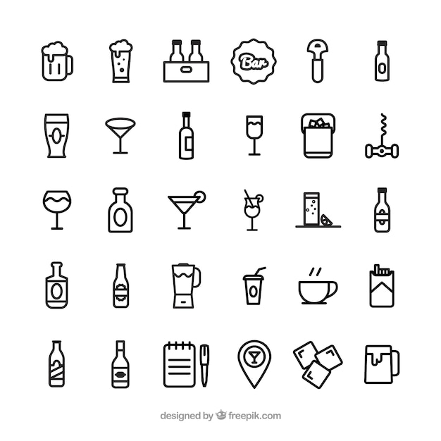 Iconos de bar vector gratuito