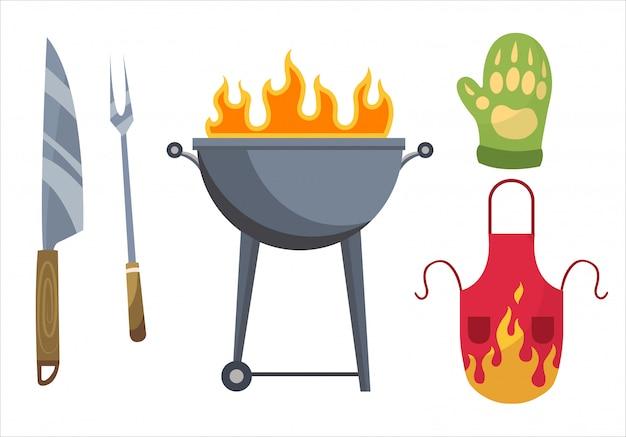 Iconos de barbacoa conjunto de elementos para asar a la parrilla. parrilla, guantes, tenedor, cuchillo y delantal. todo está listo para una fiesta familiar. Vector Premium