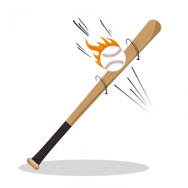 Iconos de béisbol de dibujos animados bat ball flame vector gratuito