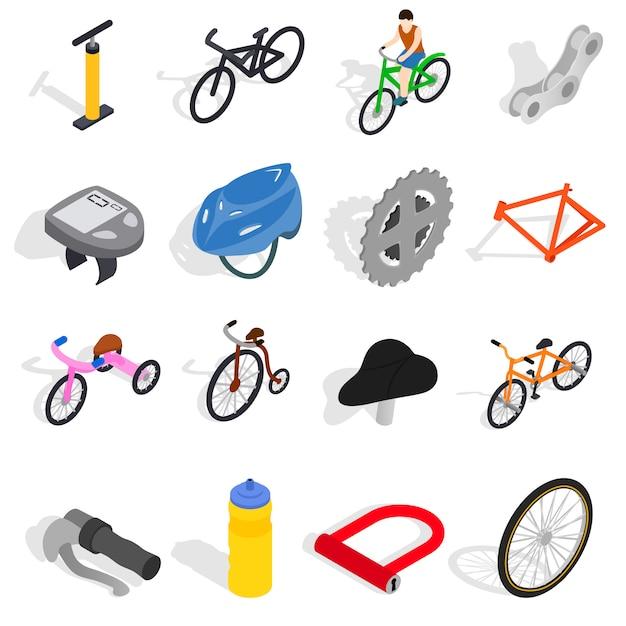 Los iconos de la bicicleta fijaron en el estilo isométrico 3d aislado en el fondo blanco Vector Premium