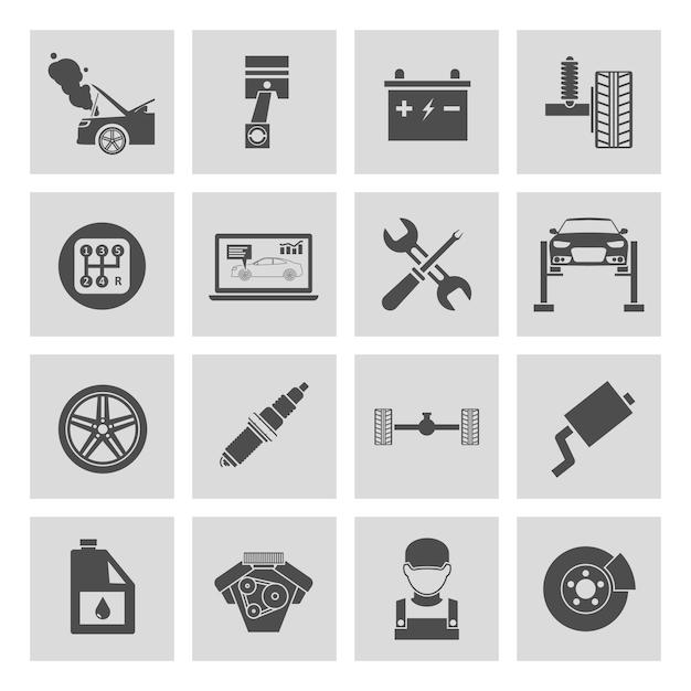 Iconos blanco y negro de reparación de coches vector gratuito