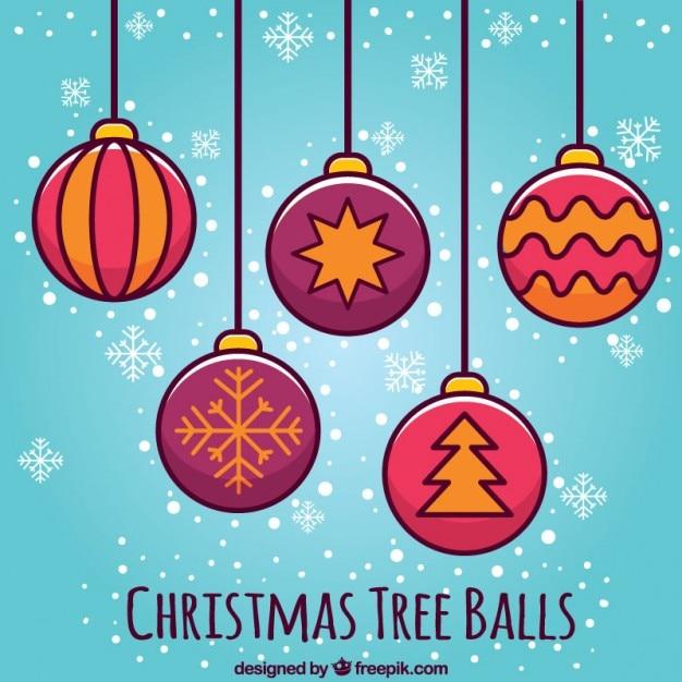 iconos bola del rbol de navidad vector gratis
