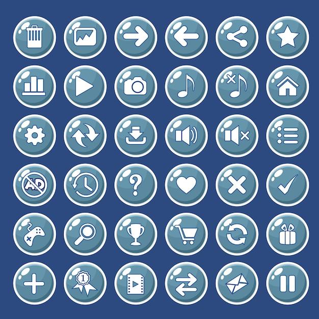 Iconos de botones gui establecidos para interfaces de juego de color azul. Vector Premium