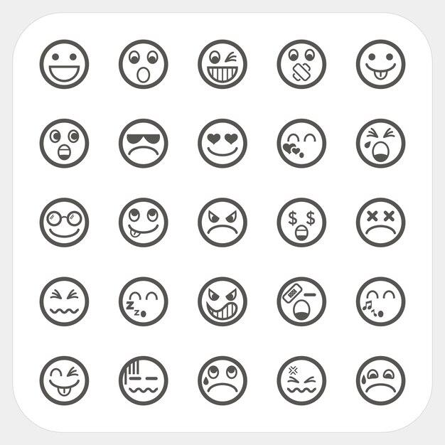 Iconos de cara de emoción Vector Premium