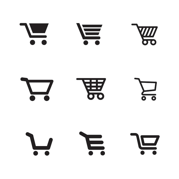 Iconos de carrito de compras Vector Premium