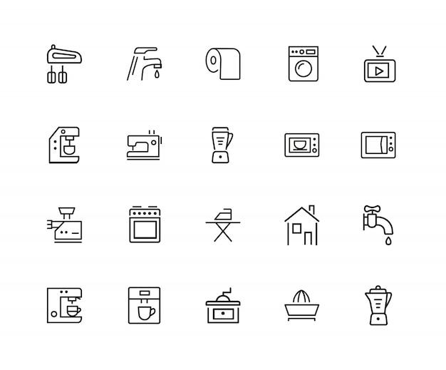 Iconos de la casa. conjunto de iconos de veinte líneas. lavadora ...
