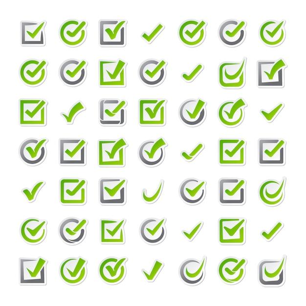 Iconos de casillas de verificación Vector Premium