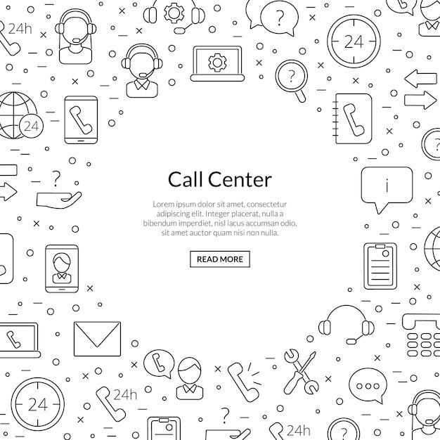 Iconos del centro de soporte de llamadas de línea con lugar para ilustración de texto Vector Premium