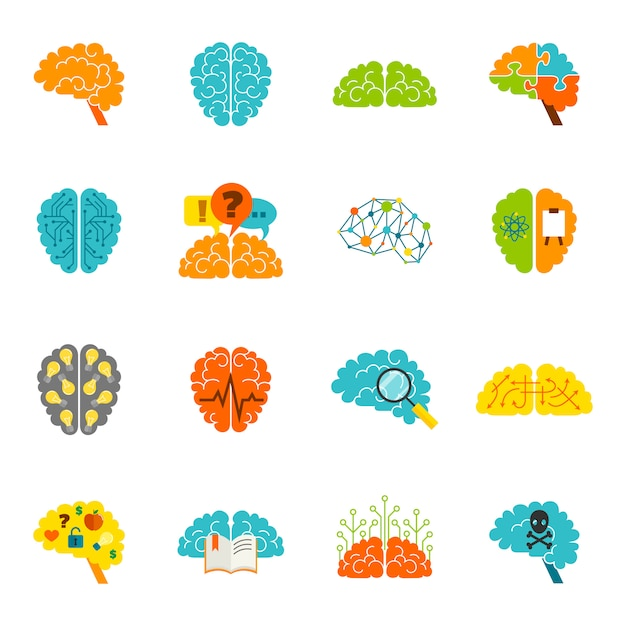 Iconos del cerebro planos vector gratuito